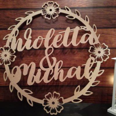 Koło z imionami, koło na wesele, koło na ściankę, koło z kwiatami na wesele, dekoracja weselna, dekoracja sali weselnej, dekorację na salę weselną