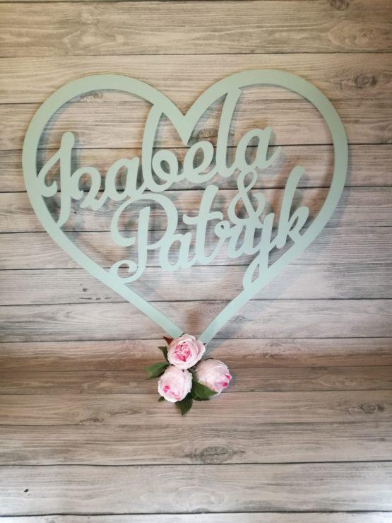 napisy na wesele, napisy na ściankę, napis na wesele, serce z imionami, serca z imionami, dekoracje na wesele, dekoracje weselne