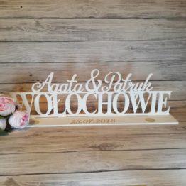 data ślubu, imiona z nazwiskiem na stół weselny, dekoracja stołu weselnego, dekoracje weselne, weselne inspiracje, napisy weselne, data ślubu