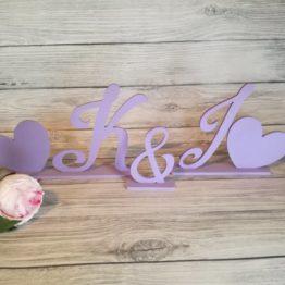 inicjały na stół weselny, inicjały z serduszkami, inicjały na wesele, dekoracja weselne, dekoracje weselne, inspiracje weselne, napisy weselne,