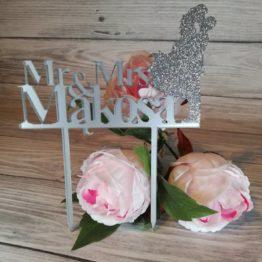 topper, toppery, topper mr mrs ,topper z brokatem, brokatowy topper, toppery z brokatem, ozdoba tortu, dekoracja tortu, dekoracje na wesele, toppery na wesele, napisy weselne