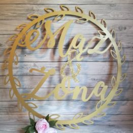 koło mąż i żona, koło z napisami na wesele mąż i żona na wesele, koło liściaste mąż i żona, koła mąż i żona, dekoracja weselne, dekoracje na wesele, napisy na wesele, napisy ślubne