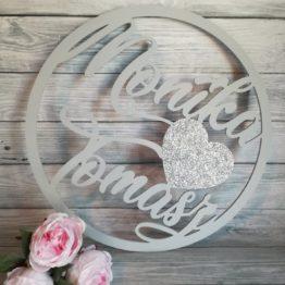 koło z imionami, koło z sercem i imionami, dekoracje na wesele, dekoracja weselna, napisy na wesele, napisy weselne, weselne inspiracje, inspiracje weselne