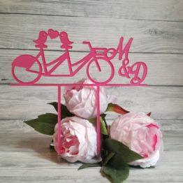 topper rower, topper z rowerem, toppery z rowerem, toppery rower, topper, toppery, toper, topery, dekoracja tortu weselnego, napisy ślubne, napisy weselne, monogram, monogramy