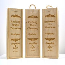 podziękowania dla chrzestnych, podziękowanie dla chrzestnego, skrzynki dla chrzestnych, drewniane skrzynki na wino, prezenty na wesele, prezenty weselne