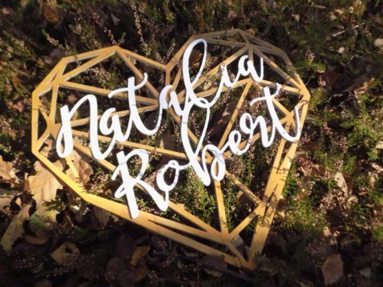 Serce z imionami, serce geometryczne, serce geometryczne z imionami, serca z imionami, napisy na wesele, dekoracje weselne 1