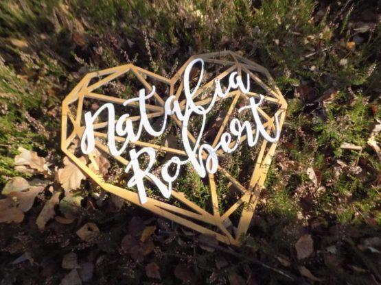 Serce z imionami, serce geometryczne, serce geometryczne z imionami, serca z imionami, napisy na wesele, dekoracje weselne 3