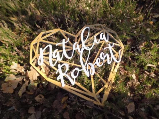 Serce z imionami, serce geometryczne, serce geometryczne z imionami, serca z imionami, napisy na wesele, dekoracje weselne 10