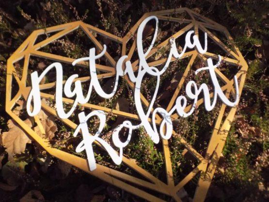 Serce z imionami, serce geometryczne, serce geometryczne z imionami, serca z imionami, napisy na wesele, dekoracje weselne 9