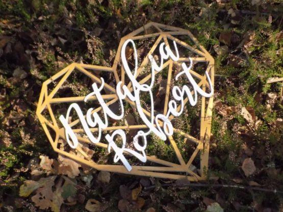 Serce z imionami, serce geometryczne, serce geometryczne z imionami, serca z imionami, napisy na wesele, dekoracje weselne 7