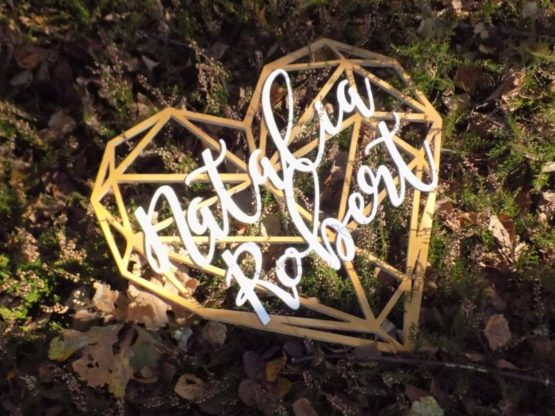 Serce z imionami, serce geometryczne, serce geometryczne z imionami, serca z imionami, napisy na wesele, dekoracje weselne 6