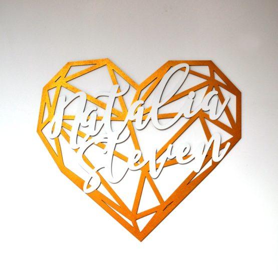 geometryczne serce z imionami na wesele, napisy na wesele, dekoracje weselne, napisy weselne, serca geometryczne na wesele,