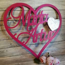 serce z imionami, serca z imionami, serce na wesele, serca na wesele, dekoracja ścianki weselnej, jak udekorować ściankę weselną, dekoracje na wesele, napisy na wesele,