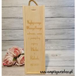Skrzynka na wesele, skrzynka na wino, skrzynki na wino, prezent dla pary młodej, prezenty dla par młodych, napisy weselne,