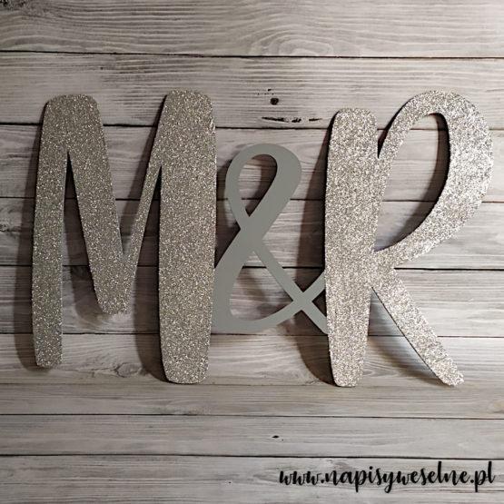 inicjały na wesele, inicjały na ściankę weselną, inicjały, monogram, monogramy, inicjały glamour, dekoracje glamour, napisy weselne, napisy ślubne, 1