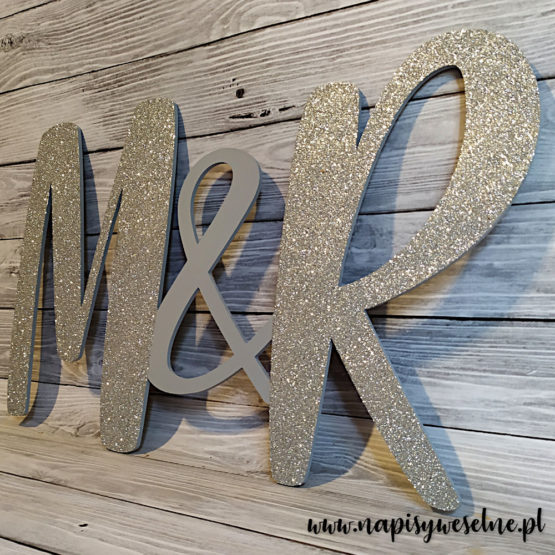 inicjały na wesele, inicjały na ściankę weselną, inicjały, monogram, monogramy, inicjały glamour, dekoracje glamour, napisy weselne, napisy ślubne, 4
