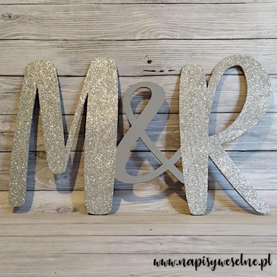 inicjały na wesele, inicjały na ściankę weselną, inicjały, monogram, monogramy, inicjały glamour, dekoracje glamour, napisy weselne, napisy ślubne, 3
