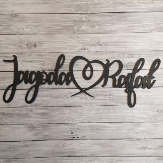 imiona z sercem na ściankę weselną, imiona z zawijanym sercem, imiona na ściankę połączone sercem, imiona na wesele, dekoracja ścianki weselnej, napisy weselne, napisy na wesele,