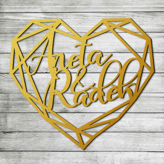 serce geometryczne z imionami, serca geometryczne z imionami, dekoracje geometryczne na wesele, dekoracja geometryczna na wesele, napisy na wesele, napisy weselne,