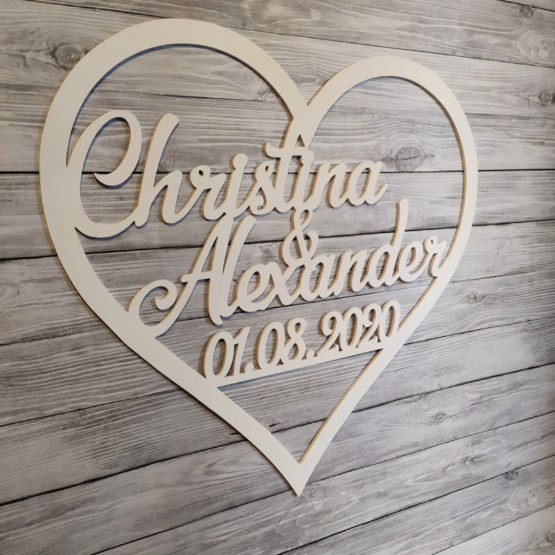 serce na wesele, serca na wesele, serce z imionami i datą, serca z imionami i datą, serce, serca, dekoracja ścianki weselnej, napisy na wesele, napisy weselne, 2