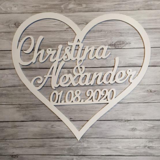 serce na wesele, serca na wesele, serce z imionami i datą, serca z imionami i datą, serce, serca, dekoracja ścianki weselnej, napisy na wesele, napisy weselne,