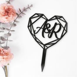 topper serce geometryczny, toppery geometryczne na wesele, topper geometryczny, topper na wesele, toppery na wesele, napisy na wesele, 1