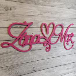 napis na ściankę weselną, napisy na ściankę weselną, napisy na ściankę, napis na ściankę, napis żona mąż, napisy żona mąż, napis z serduszkiem, napisy weselne, 4