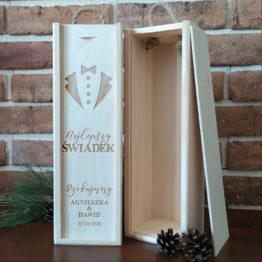 skrzynka na wino, skrzynki na wino, skrzynka dla świadków, skrzynki dla świadków, prezent dla świadków, prezenty dla świadków, napisy weselne, napisy na wesele, 2