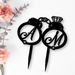 topper kajdanki z inicjałami, topper z kajdankami na wesele, toppery kajdanki, toppery na wesele, weselne toppery, napisy weselne, napisy na wesele, 2